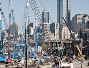 Construction: The SR 99 site south of downtown Seattle teeming with cranes.