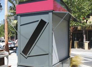 Opportunity: The first kiosk (above) has been installed in downtown Lancaster. The unit rents for $500 a month.