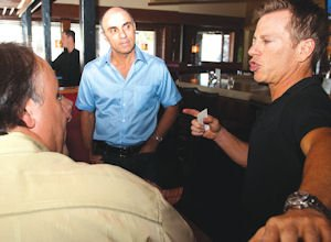Customer Service: Wood Ranch Co-founders, Ofer Shemtov (left) and Eric Anders, speak to guests at their restaurant in Agoura Hills on a recent afternoon.