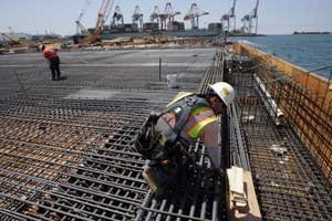 Workers at Long Beach port's Middle Harbor redevelopment project.