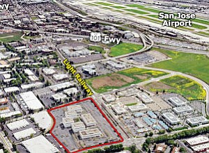Silicon Valley Center: six-building complex, location outlined in red, covers 19 acres