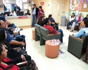Care: Patients in the primary medicine waiting room at Valley Community Clinic in North Hollywood. A new clinic is planned at Monroe High School in North Hills.