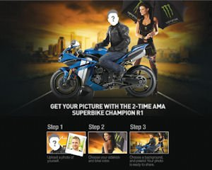 Facebook app: friends can put face on rider's image
