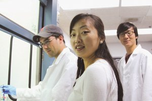 Shirley Meng, seen with students in a UC San Diego lab, studies power technology. She says researchers are expected to double the energy density of lithium ion batteries over the next five years, making them last longer between charges. Lithium ion batteries are common in consumer electronics.