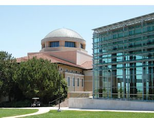 Soka Performing Arts Center: glass-paneled facility is situated across from university's Founders Hall