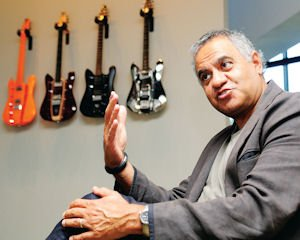 Vision: RKS custom-designed guitars adorn the lobby walls of company founder, Ravi Sawhney.