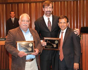 Keys to the city: Judge Jack Mandel with Nicholas, Santa Ana Mayor Miguel Pulido