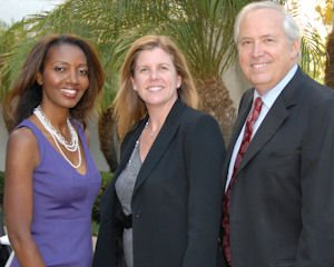 Public Law Center honorees: OC Bar Association President Dimetria Jackson, who accepted community partner of the year award for association, fund; Deb Mallgrave and Bill O'Hare, representing law firm of the year Snell & Wilmer LLP