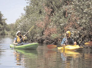 Water: Kayakers can experience nature in the middle of an urban setting.