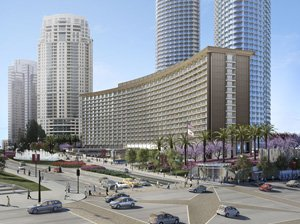 Rendering shows added towers in redevelopment plan for Hyatt Regency in Century City.