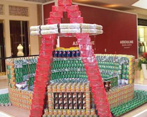 Canstruction entry: canned food model of Angel Stadium of Anaheim built for annual competition