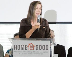 Event: Elise Buik, CEO of United Way of Greater Los Angeles, announces the Home for Good Funders Collaborative, which seeks to permanently reduce homelessness in the city. Among the recipients of aid from the project is the San Fernando Valley Mental Health Clinic.