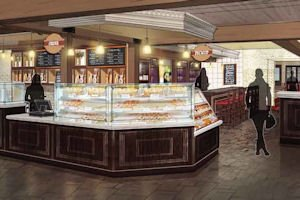 Rendering: makeover calls for bakery-café with lunch items and carryout