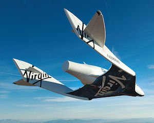 In flight: SpaceShipTwo over desert.
