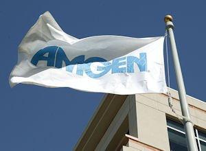 Ruffled: Amgen's flag flies outside its Thousand Oaks headquarters.