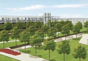 Rendering: four-story parking structure will free up current lot for green space