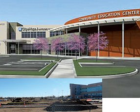 Development: inset, site work is underway at the proposed City of Hope facility next to Antelope Valley Hospital; top, rendering of completed complex.
