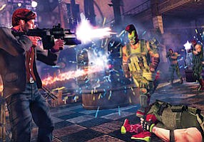 Flame Out: Image from 'Saints Row,' one of THQ's few hit console games.