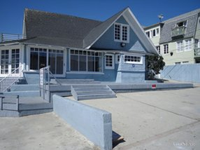 """""""The Blu House"""" on Ocean Front Walk in Venice."""