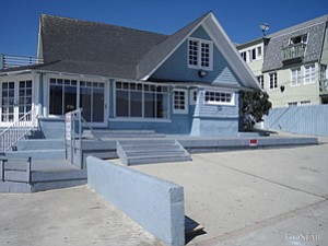 """The Blu House"" on Ocean Front Walk in Venice."