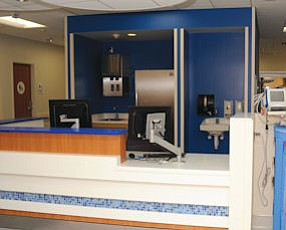 Nursing station: in the Julia and George Argyros Emergency Department