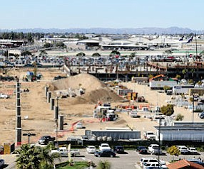 Under Construction: The transportation center, foreground, is close to the airport.