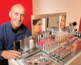Northern Lights: John Maly with his colorful, mineral-based Mirabella cosmetics.