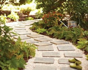 A do-it-yourself stone path on eHow.com.