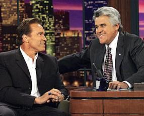 Better Days: Leno and Arnold Schwarzenegger in 2003.