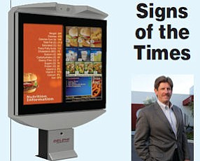 Delphi drive-thru board: part of industry drive for data.  Neeld: company designs software, signs at Costa Mesa headquarters