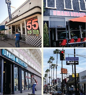 Clockwise from Top Left: Old standby Art's Deli, recently opened Umami Burger; Ventura Boulevard shopping district; Urban Outfitters.