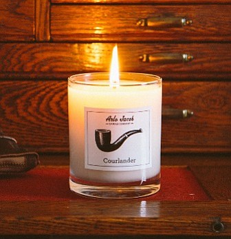 A tobacco scented candle from Jon Setzen's side business, Arlo Jacob. Photo by Brad Swonetz.