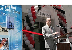 Valencia: CEO Jeff Goldberg at Quallion battery plant opening.