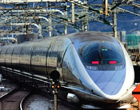 Fast: Central Japan Railway bullet train passes through station.