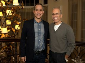 AwesomenessTV Chief Executive Brian Robbins (left) with DreamWorks Animation Chief Jeffrey Katzenberg (right). Photo courtesy of AwesomenessTV.