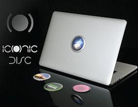 Iconic Disc frame: uses Apple logo light to illuminate images