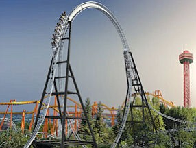 In the Loop: Rendering of Full Throttle ride at Magic Mountain.