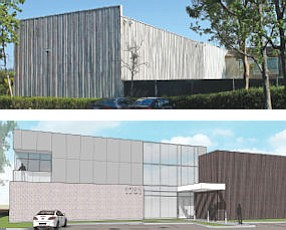 1701 Quail: former gym prior to renovations and a rendering of what its owners hope it will become
