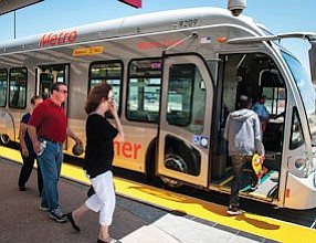 Clean Burning: Orange Line bus fueled by natural gas.