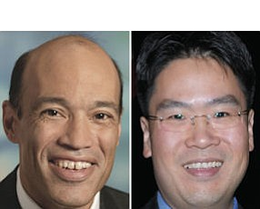 Pinkston (left): Allergan general counsel one of four new members.  Vizio's Huang: honoree at Business Journal's General Counsel Awards last year