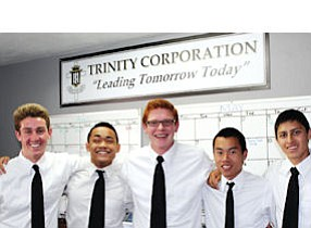 Student-businessmen: Cory Lewis, Daniel Javier, Troy Kassien, Kevin Nguyen and Gabriel Gaspar. Gaspar is a former program participant.