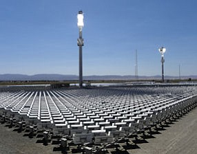 Glaring: eSolar's concentrated solar power utility plant in Lancaster.