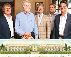 Family team: Bruce Ayres, Don Ayres Jr., Don Ayres III, Doug Ayres and Bruce D'Eliscu.  Below: Rendering of Paso Robles resort: spa part of plan