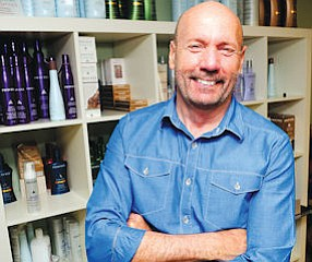 All Smiles: Steve Goddard, with products, at the Chatsworth offices of Pravana.