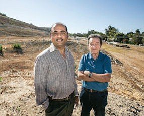 Constructive: Developer Mohammed Esa, left, with project supporter Mel Silberberg at the site of Esa's planned 125-unit Hillcrest assisted living project in Thousand Oaks.