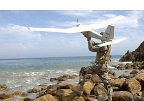 Airborne: AeroVironment drone ready for test flight.