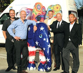 Stampede: (from left to right) Rob Koscelnik, DoubleTree Suites by Hilton Doheny Beach-Dana Point; Mike Spits, founder, Elephant Parade; Bruce Brainerd, The Ritz-Carlton, Laguna Niguel; Johnny So, St. Regis Monarch Beach; Jim Samuels, Laguna Cliffs Marriott Resort & Spa