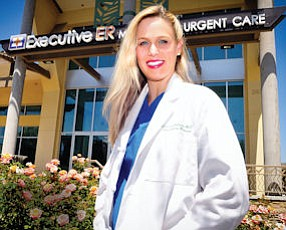 Bed of Roses: Dr. Cherlin Johnson outside Executive ER in Summit at Calabasas mall.