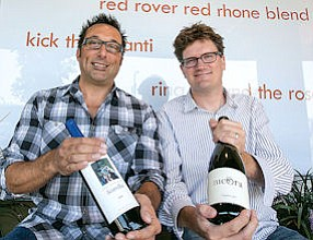 Sommeliers: Doug LaGambina, left, and Scott Kay outside their Spin the Bottle.