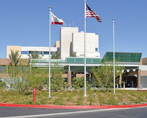 Costly: The main entrance to Antelope Valley Hospital in Lancaster.